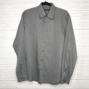 Theory Men's Gray Stripe Long Sleeve Button Down